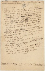 Hand written fragment of the original Communist Manifesto (click to download archival PDF)